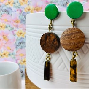 Wood & Resin Dangle Earrings